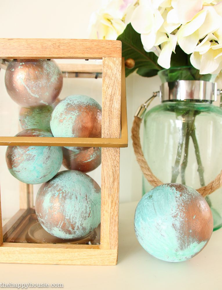 DIY Faux Aged Copper Vase Fillers DIY