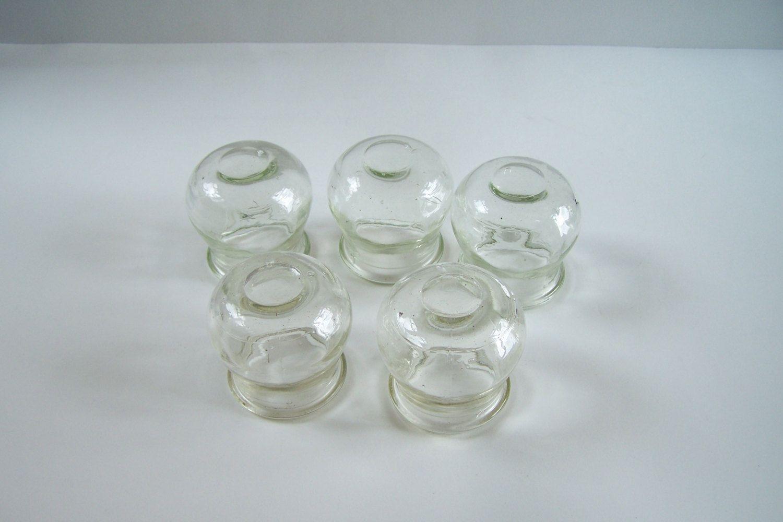 lot de 5 ventouses anciennes en verre très épais présence