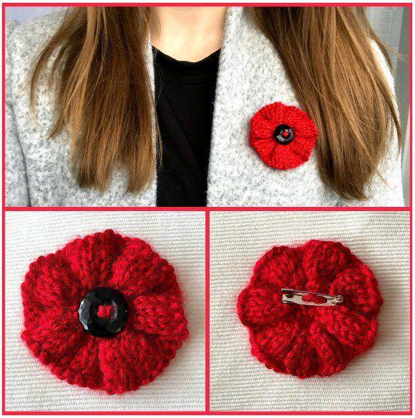 Ribbed Knit Poppy Brooch | Knitted poppies, Crochet poppy ...