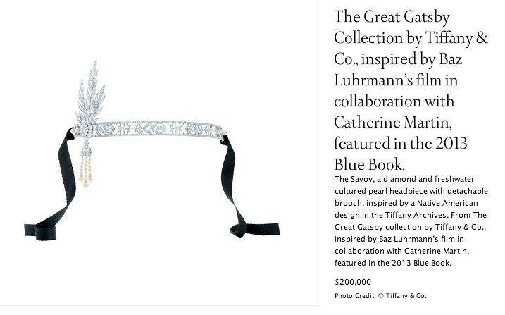"Tiffany & Co. jewelry inspired by and for the movie ""The Great Gatsby"""