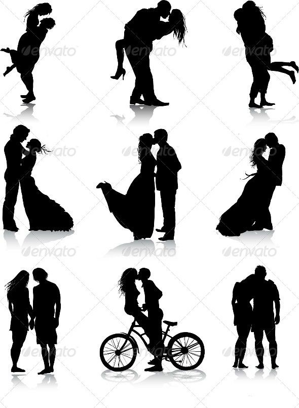 #Romantic Couples Silhouettes - #silhouettes #people #characters #isolated #illustration #vector #template #love