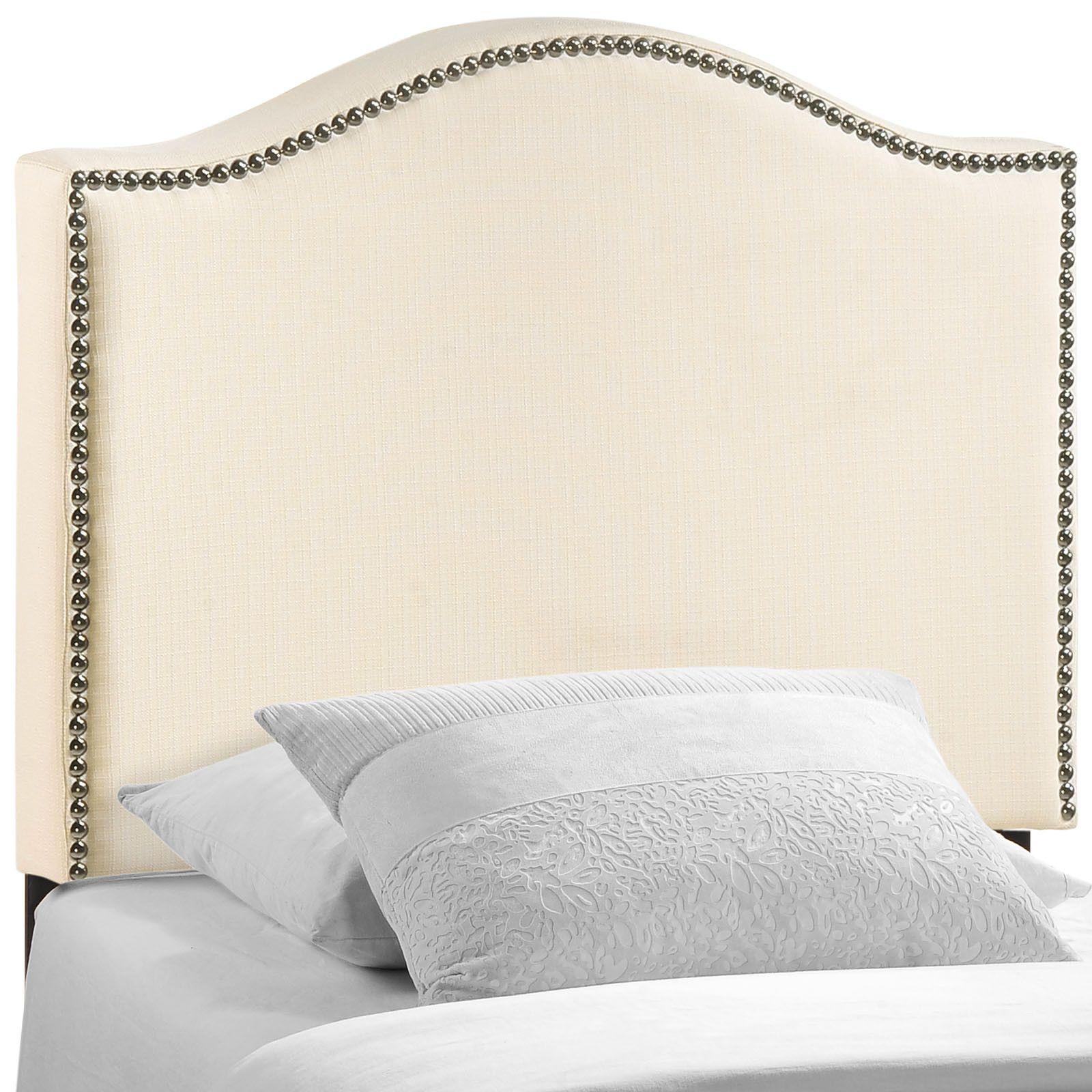 Curl Twin Nailhead Upholstered Headboard | cabeceras | Pinterest