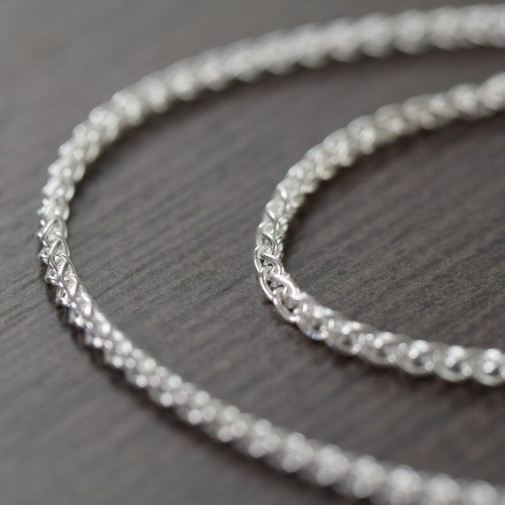 Unisex sterling silver chain necklace, Woven Italian finished chain, 2mm thick