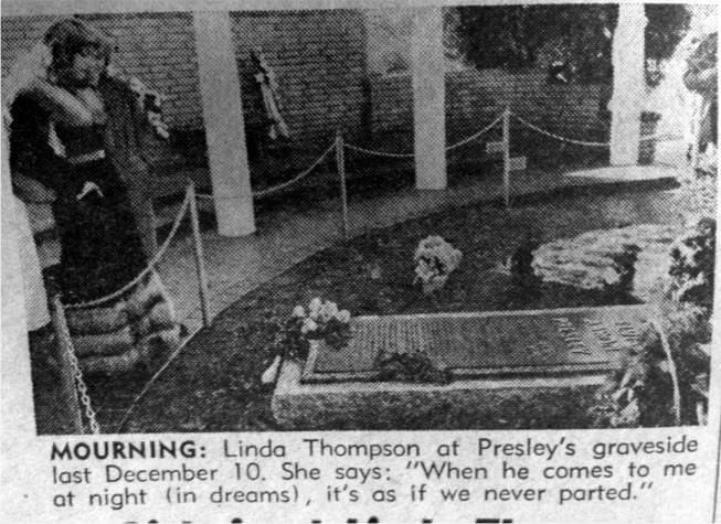 Linda Thompson at Presley's grave-site. They had a very strong love and it's a shame they never married, I think they would have been very happy toogether