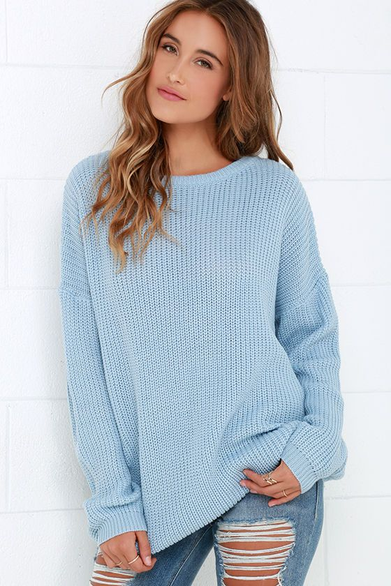 062c3dd90f2616 Light Blue Sweater - Knit Top - Backless Sweater - Oversized Sweater -  $48.00