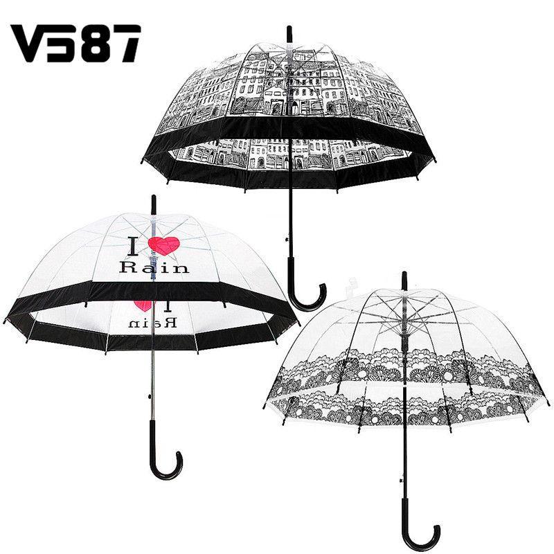 Transparente Guarda-chuva Guarda-chuva de Cabo Longo Semi Automático Ensolarado Chuvoso Umbrella Mulheres Meninas Ao Ar Livre Ferramentas Cidade Cenário Da Cidade