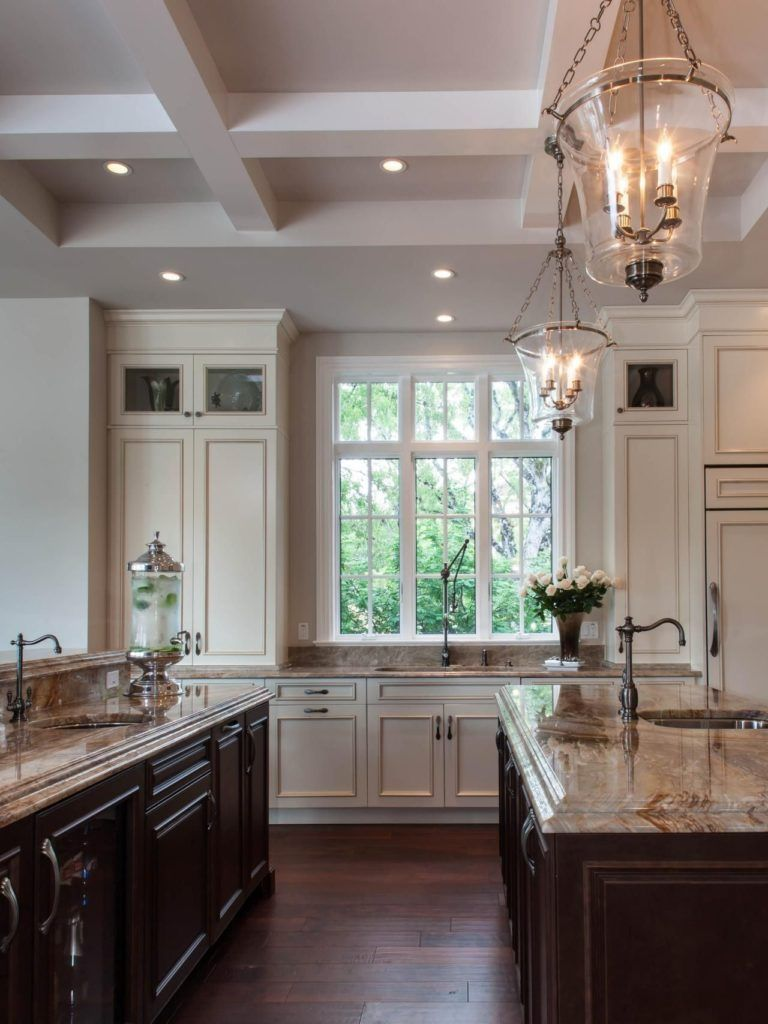 Traditional kitchen with cut coffered ceiling | Kitchen2018 in 2018 ...