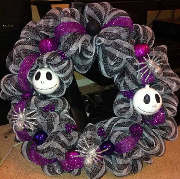 Jack Skellington Wreath mesh wreaths Pinterest Jack