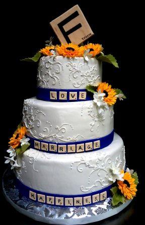 Wedding cake with edible scrabble tiles