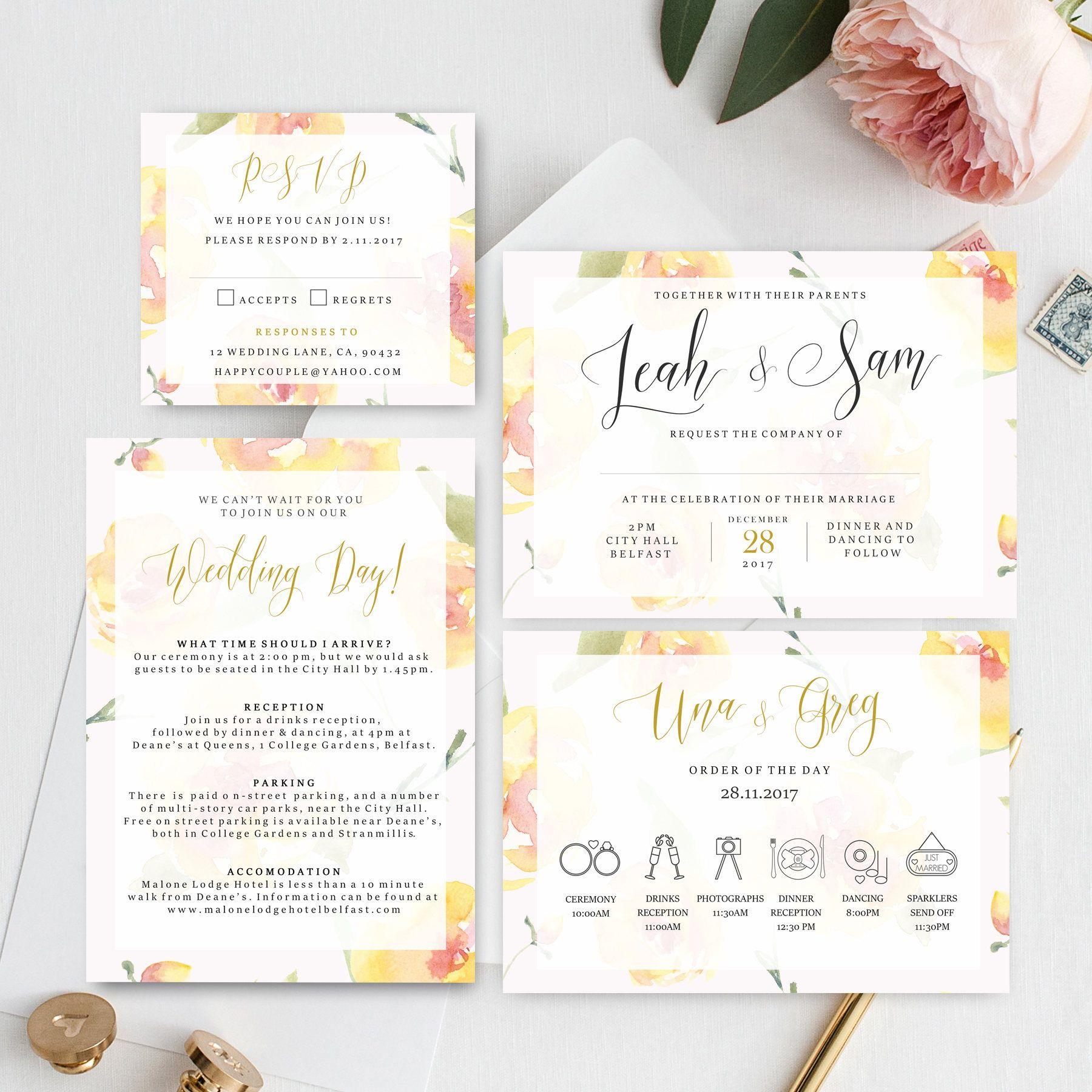 Lemon Yellow Pink Wedding Invitation, printable wedding invite ...