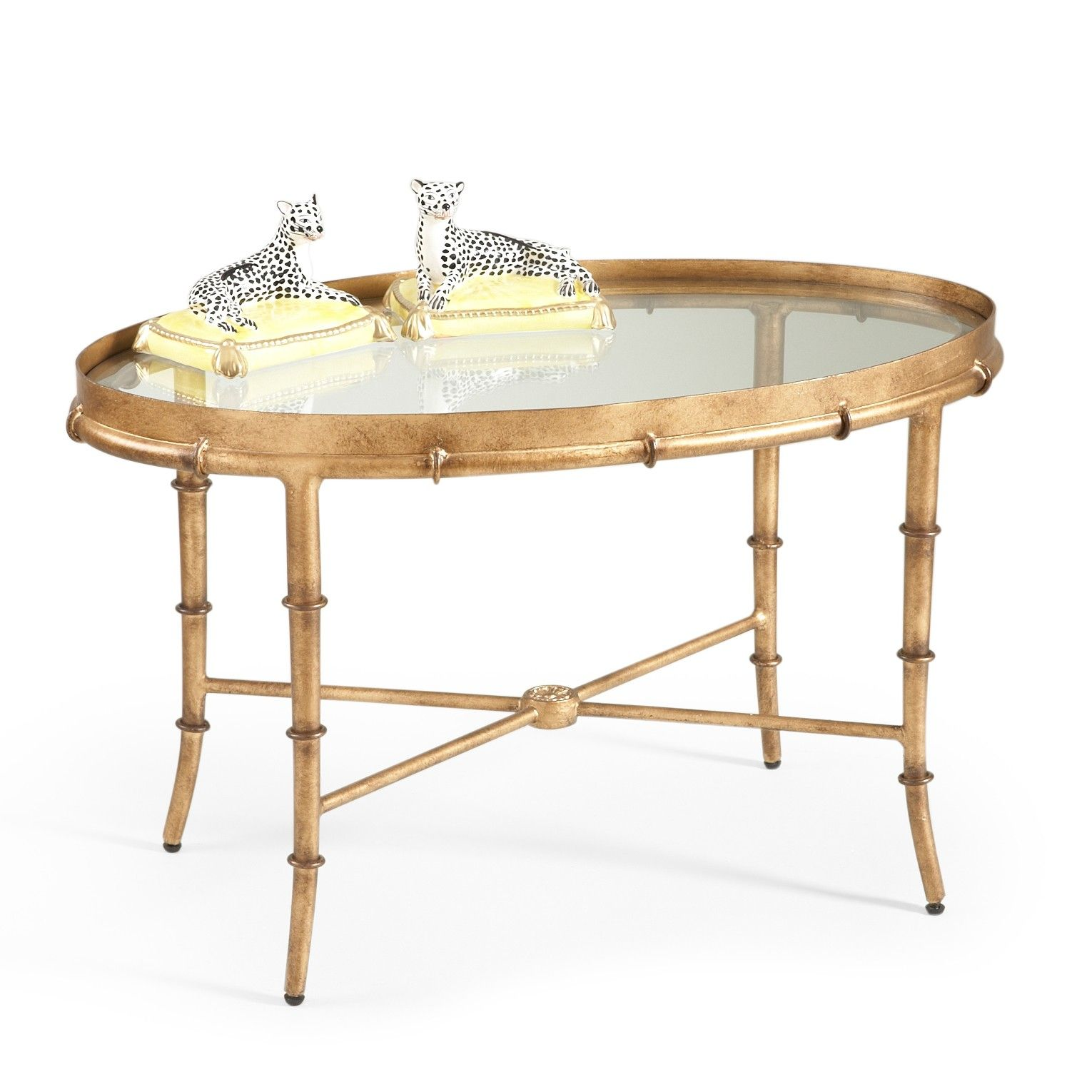 Antique Gold Bamboo Cocktail Table With Glass Top Bamboo Coffee Table Coffee Table Antique Coffee Tables