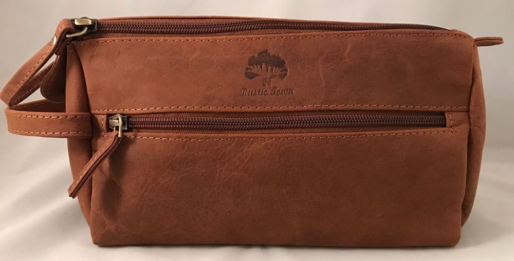 Leather Toiletry Bag For Men Brown Shave Shaving Grooming Travel ... e4d4d5f2b2e65