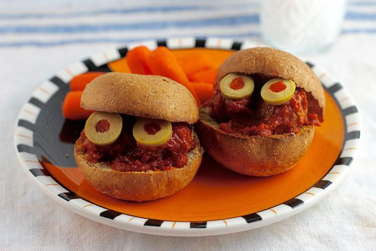 Meatball Monster Sandwiches Recipe Halloween parties, Monsters - halloween party ideas for kids food