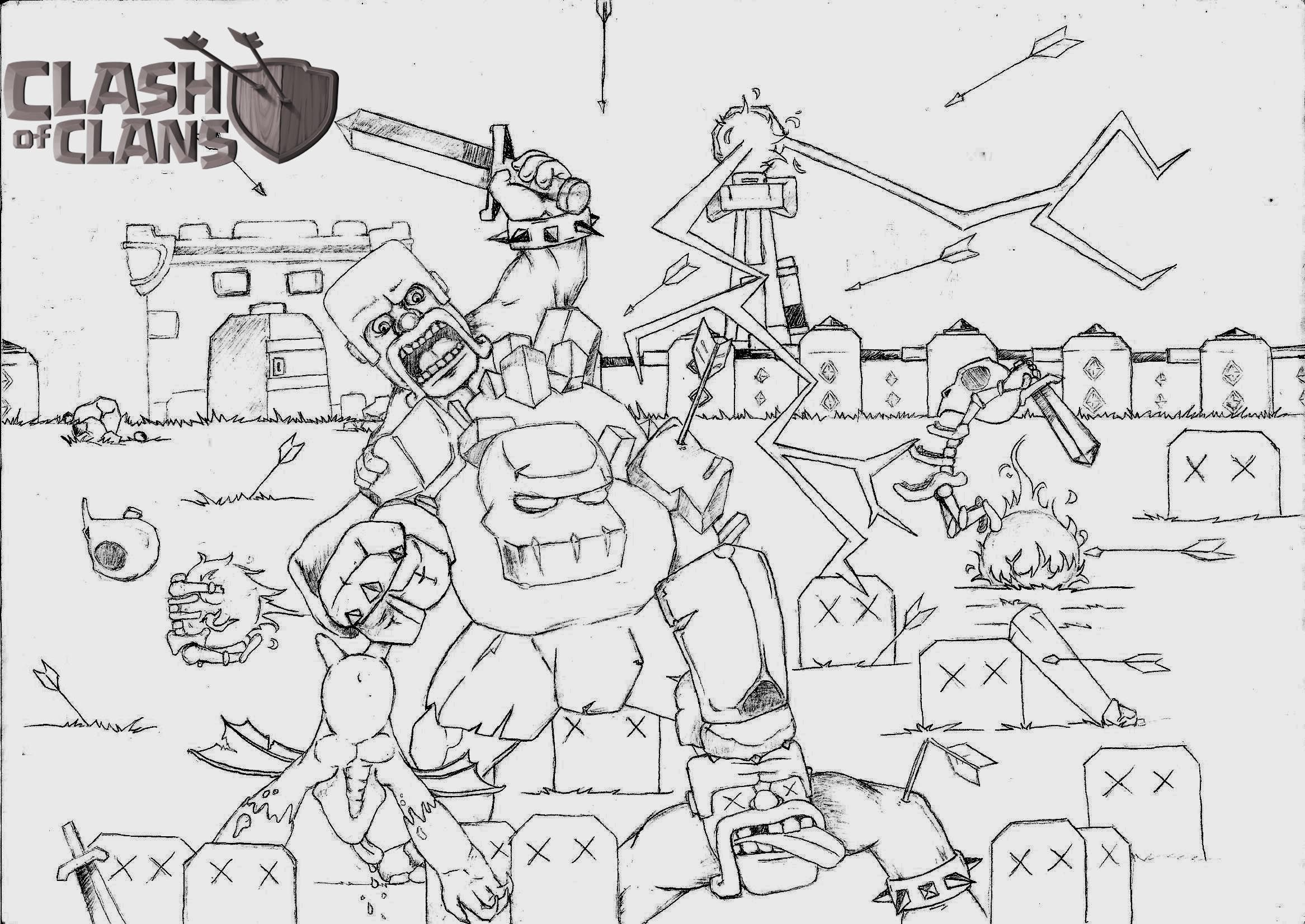 Clash of Clans Coloring Pages  Coloring pages, Clash of clans