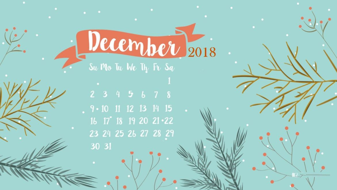 December 2019 Calendar Laptop Wallpaper December 2018 Desktop Calendar | calendar | December wallpaper