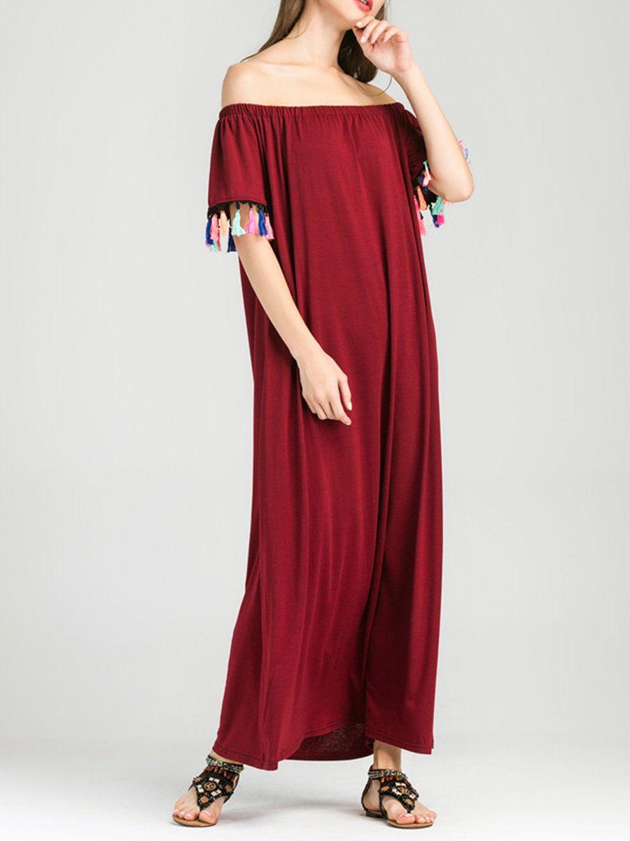 Adorewe justfashionnow red dressesdesigner xsd burgundy tassel