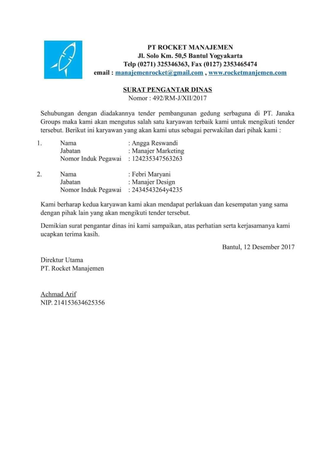 Contoh Surat Pengantar Dinas Surat Kop Surat Surat Pengantar