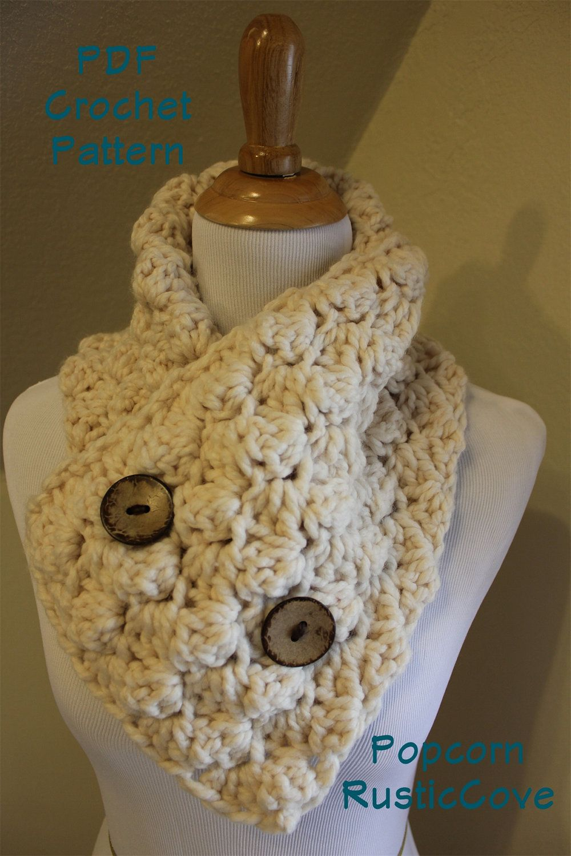 Crochet Scarf Patterns Crochet Pattern Popcorn Scarf Neck Warmer