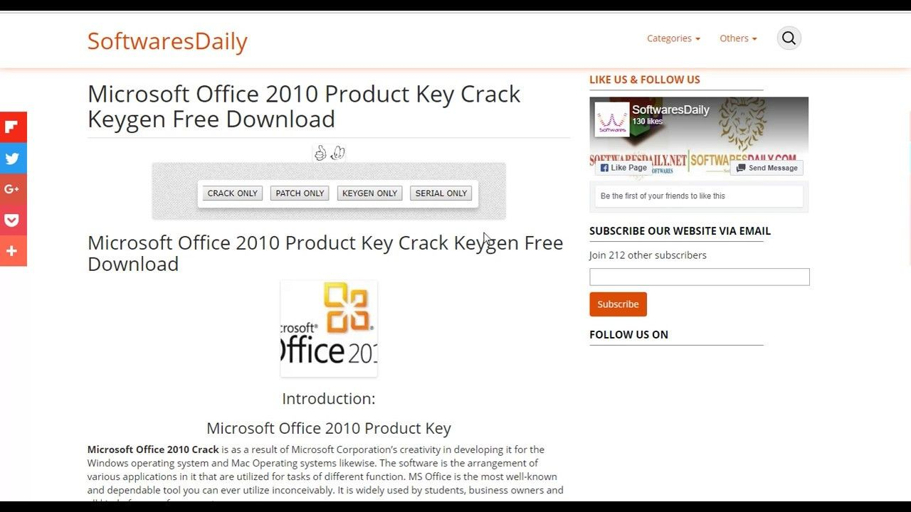 free keygen for microsoft office 2010