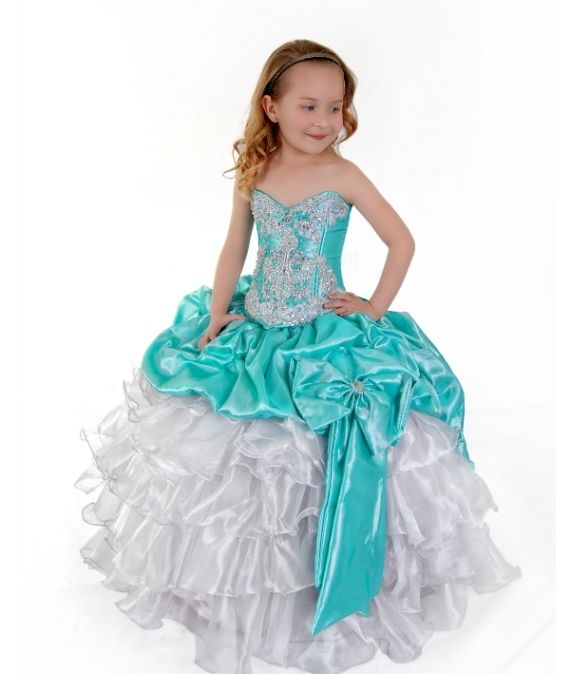 Aqua Green White Satin Pageant or Formal Girls Dress | Flower Girl ...