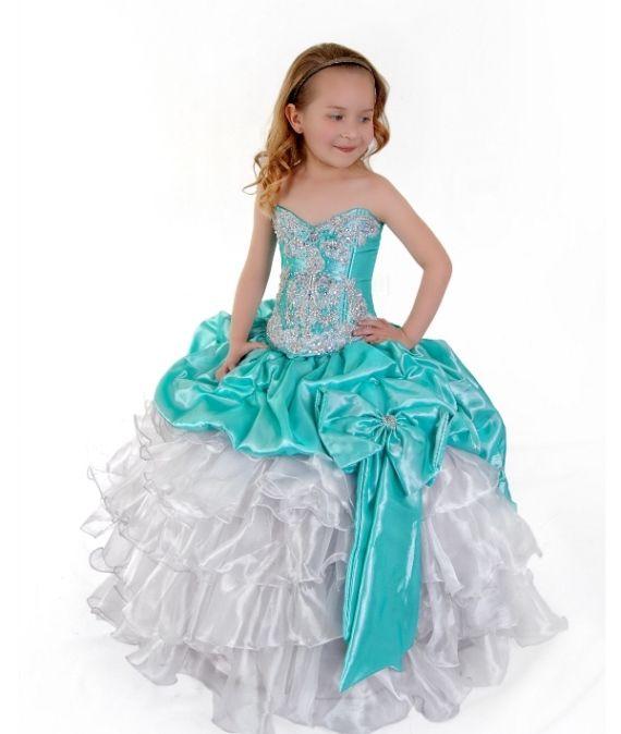 Aqua Green White Satin Pageant or Formal Girls Dress | Dresses ...