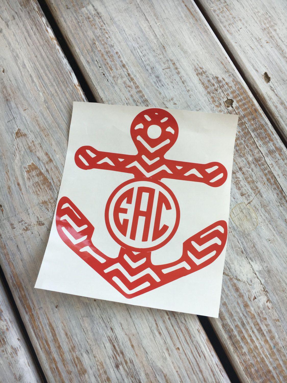 Patterned Anchor Monogram Decal Vinyl Monogram Yeti - Anchor monogram car decal