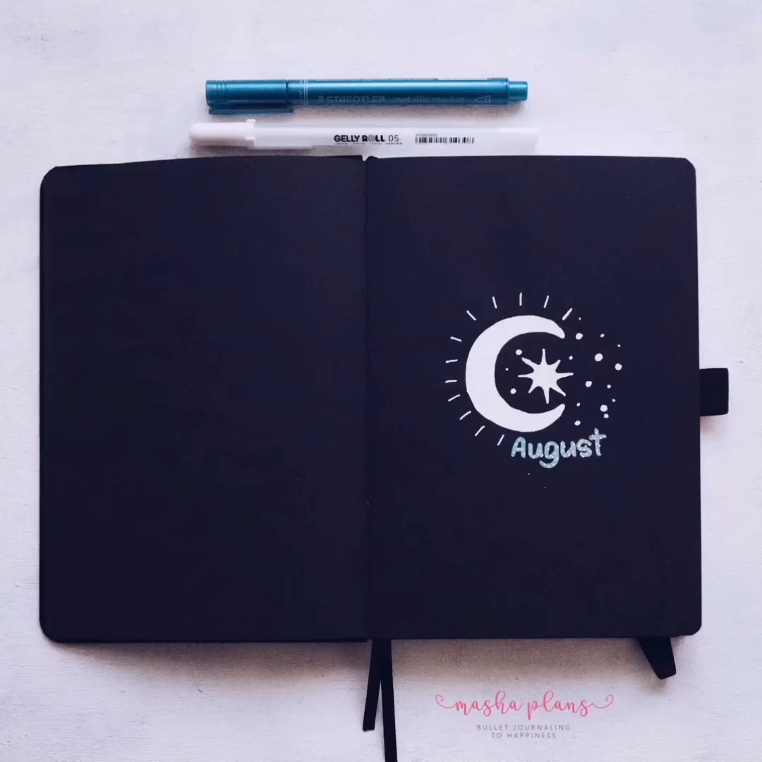 Join me as I set up a month in my Blackout Book by archer and olive with just two pens - a blue marker and a white sakura gelly roll! Including a Plan With Me YouTube video! #mashaplans #bulletjournal #archerandolive #blackoutbook