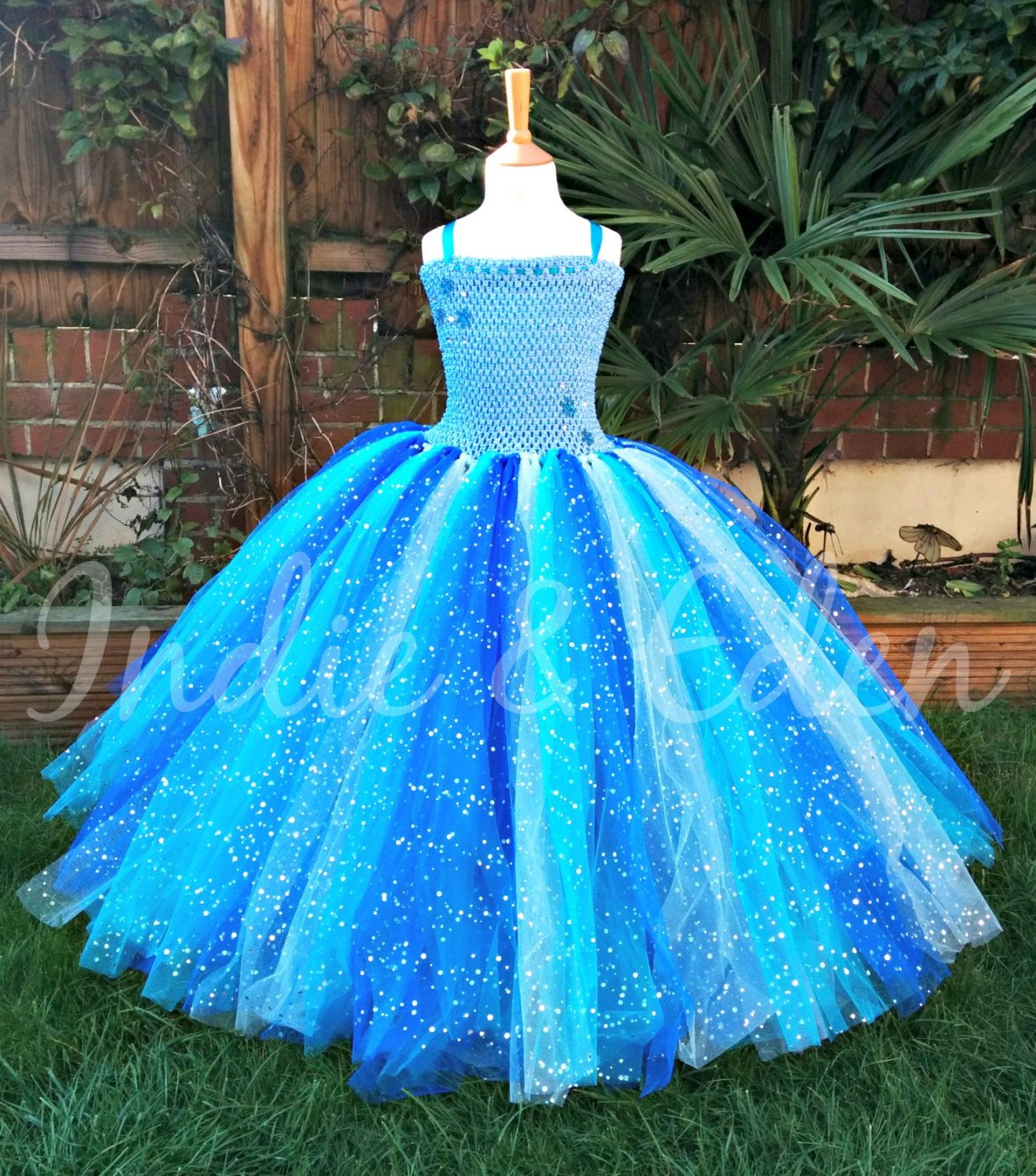 Girls Luxury Blue Long Floor Length TuTu Dress With Butterflies ...