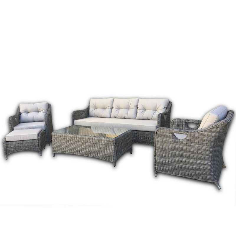 Liverpool 5-Piece Wicker Outdoor Lounge Setting — Grey ...