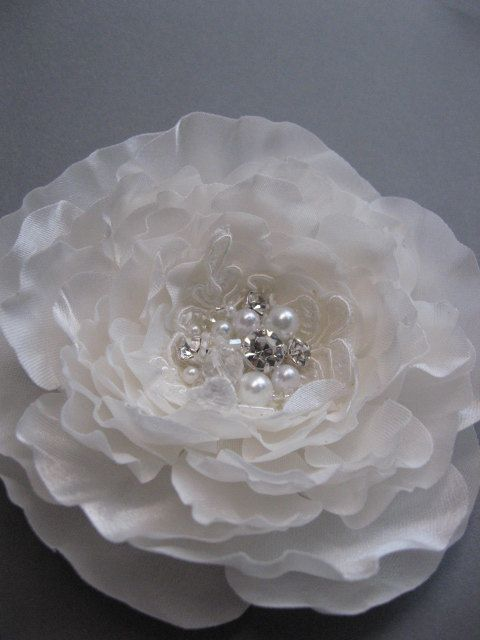 Bridal ivory peony flower fascinator lace Hair clip by LeFlowers