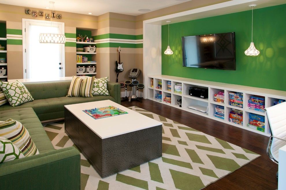 Remarkable Basement Rec Room Ideas For Kids Contemporary Design Ideas With  Remarkable Bright Green Accent