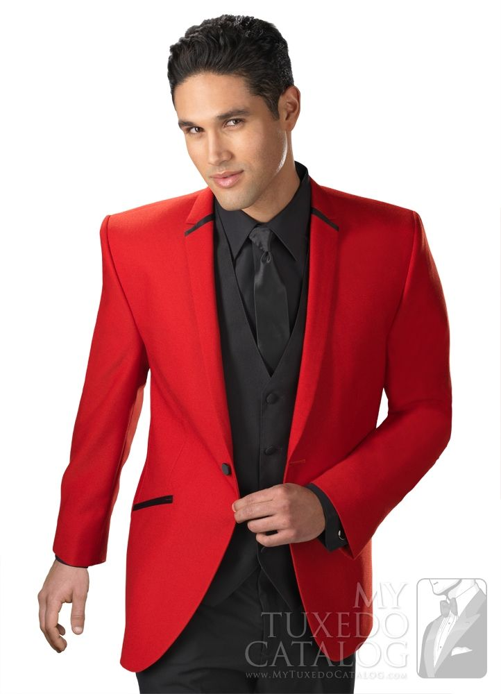 Black And Red Tuxedo. Love the red Tuxedo jacket