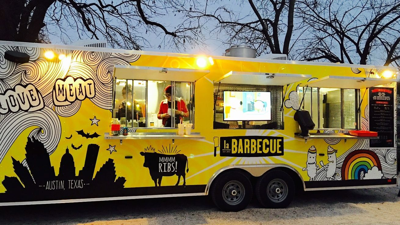 Behold la barbecues new bright weird yellow trailer