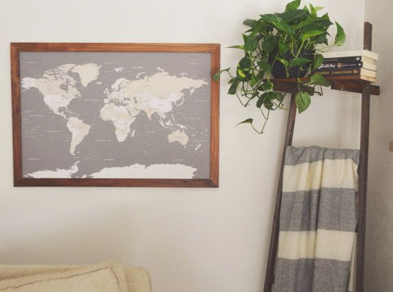 Framed modern world map handcrafted world push pin travel map in world map push pin travel map framed world map anniversary gift world map wedding travel map push pin map christmas gifts for her gumiabroncs Choice Image