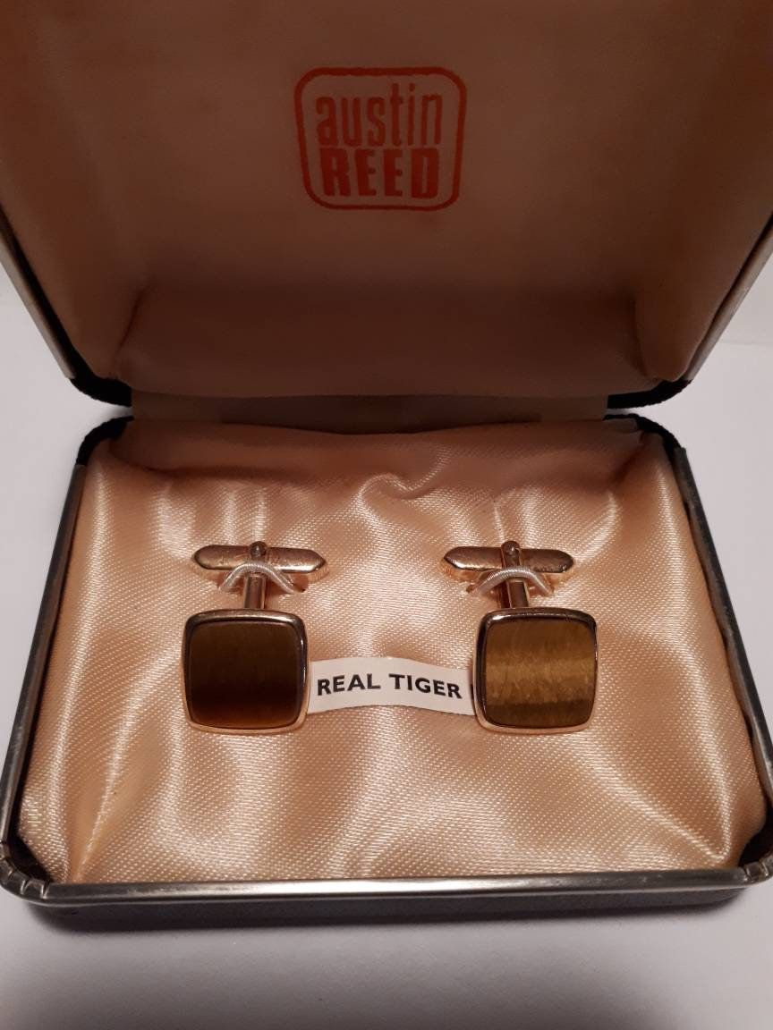 Austin Reed Men S Cuff Links Vintage Real Tiger Eye Cuff Links Handsome Vintage Cuff Links Austin Reed Cufflinks Men Real Tiger Eye