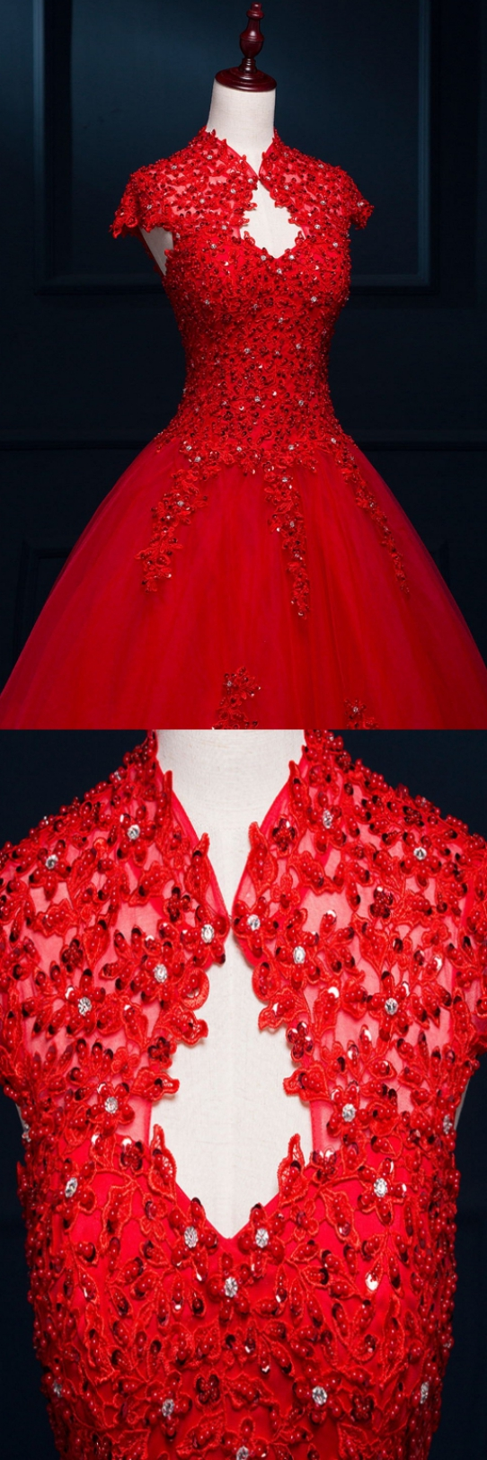 Hot sale vogue long alineprincess wedding dresses red cap sleeve