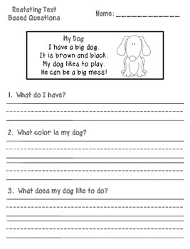 Text Based Comprehension Question Printables Kindergarten First