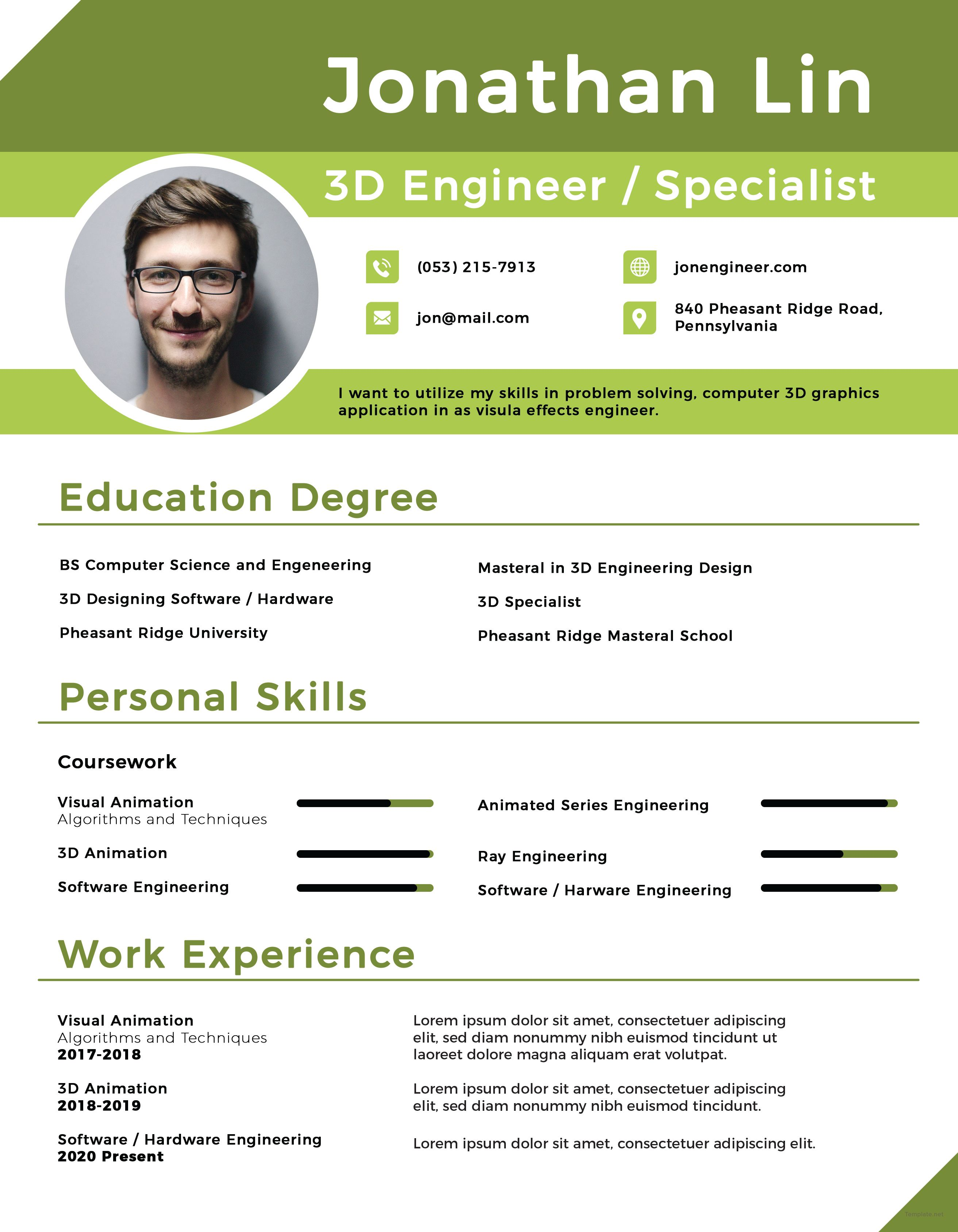 Free Engineering Student Fresher Resume | Resume writing | Pinterest