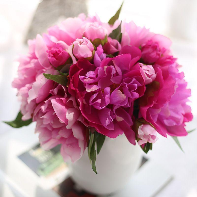 Silk Flower Artificial Peony Flowers Purple Red Bridal