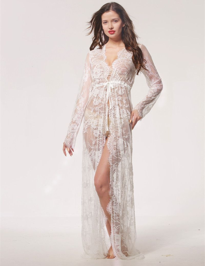 3d160feb5 Summer Sexy Lace Night Dress Babydoll Lingerie Nighty Women Nightwear Off  White Maxi Lace Robe Femme Ete Camisola Nightgown  Affiliate