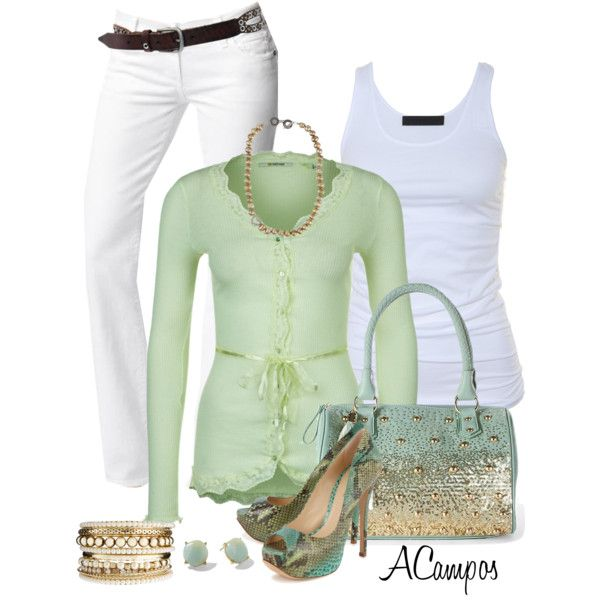 White Jeans, created by anna-campos on Polyvore