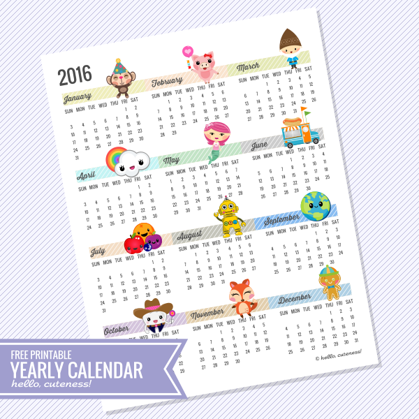 free printable 2016 year at a glance calendar by hellocuteness com