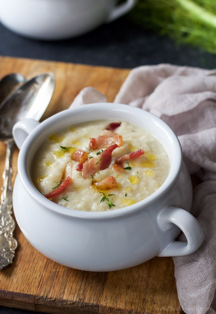 This creamy Roasted Fennel Cauliflower Soup will be the star of the fall! Packed with rich flavor then topped with chili infused oil and crispy bacon -only 156 calories a serving!   joyfulhealthyeats.com Easy Dinner Recipes