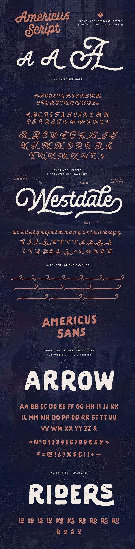 Americus Script & Sans best vintage fonts vintage script