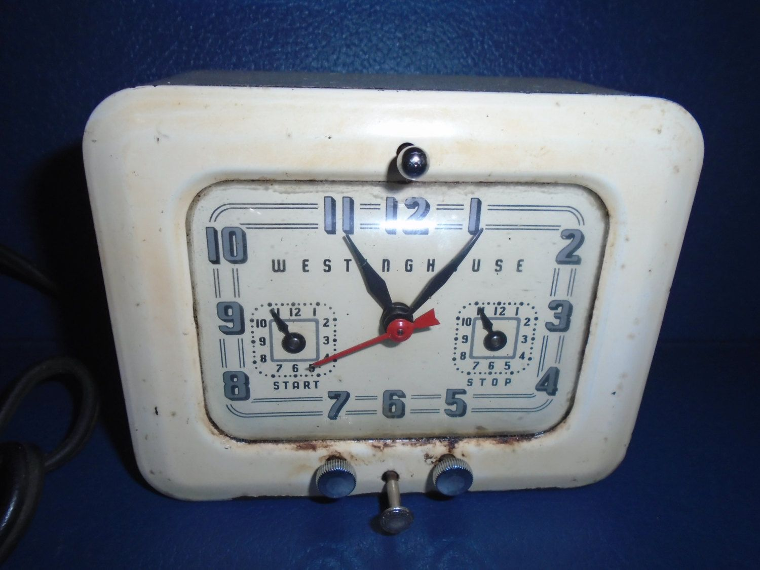 Antique Kitchen Clock With Electrical Timer Vintage Westinghouse