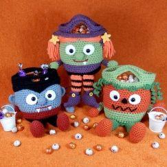 Halloween Bucket Head Bags - Vampire, Witch and Pumpkin