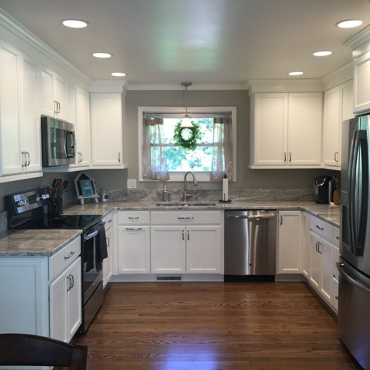 White And Grey Kitchen, Marble Countertops, White Crown