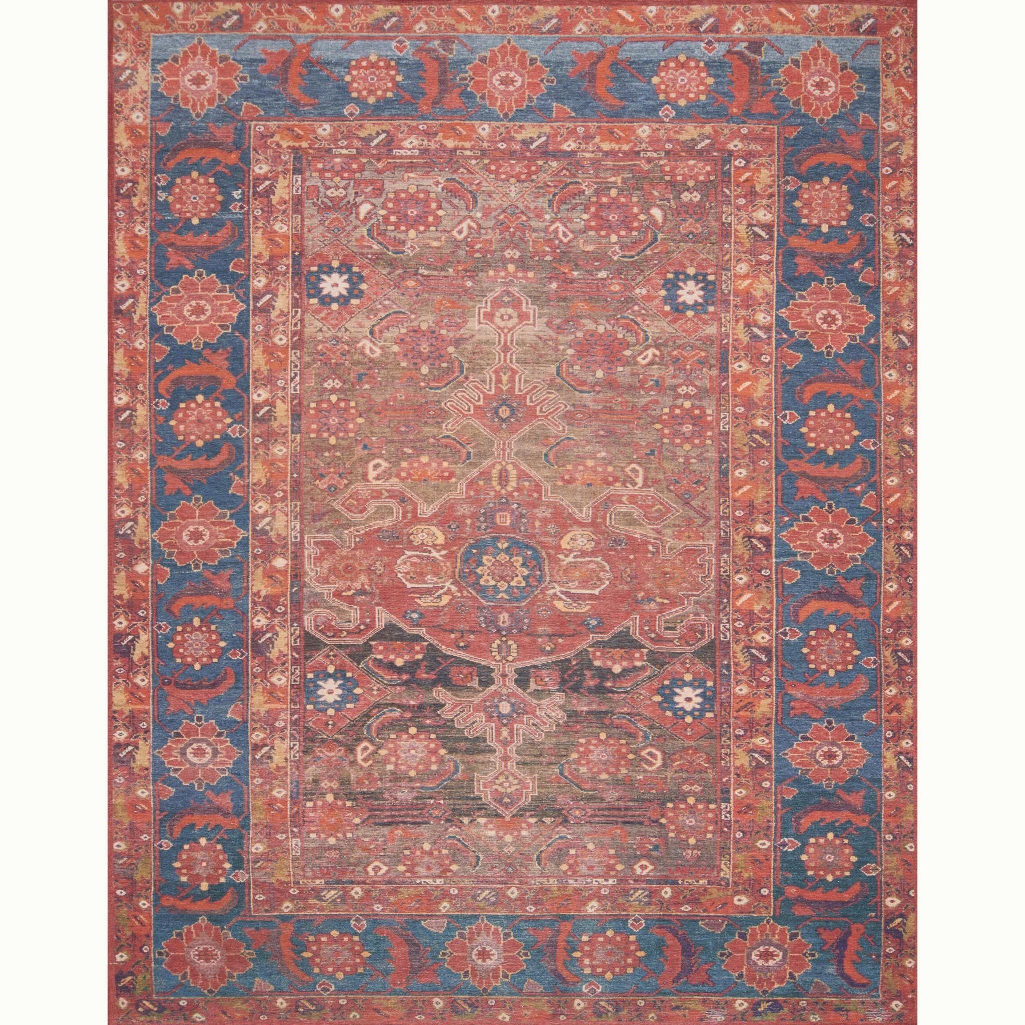 Lucca Rust Blue Rug Magnolia Market Joanna Gaines Created Using The Most Advanced Making Technology Coveted Look Of Rich Reds Deep Blues
