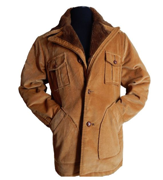 Vintage 1970's Mens Fashion Western Style Corduroy Car Coat Jacket ...
