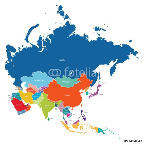 Best Free Asia Vector Map with all colored countries and regions ...